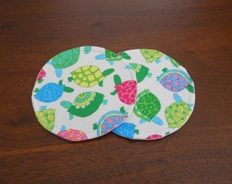Fabric Coasters, Turtles, Turtle Coasters, Turtle Fabric Coasters, Set of Two