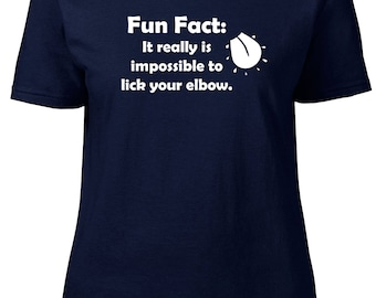 Fun Fact: Elbow. Ladies semi-fitted t-shirt.