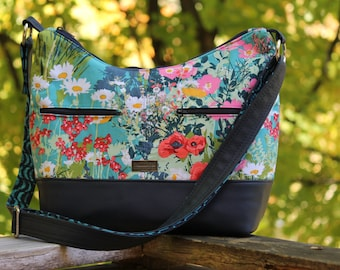 Hosta Hobo Bag (Large sized) with Camera Insert in Lavish fabrics by Katarina Roccella with navy vinyl accents