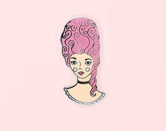 Marie Antoinette Enamel Pin, Pink Enamel Pins, Marie Antoinette, Let Them Eat Cake, Pastel Hair, Pink Hair, Girly Enamel Pins