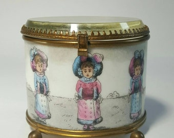Vintage Porcelain Jewelry Box with Beveled Glass