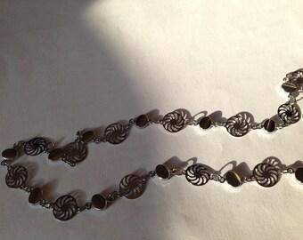 flat silver 46 cm long metal chain