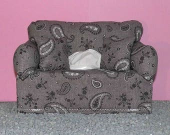 Miniature deco sofa with pillow for handkerchiefs/cosmetic boxes, beige-brown color