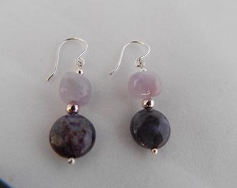 Amethyst and Purple Jasper Earrings