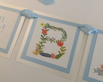 Baby Shower Banner Vintage Floral and Vine Design Luxury 3 Layered Banner Perfect for Baby Boy Shower