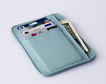 small wallet / card holder - Baby Blue genuine leather