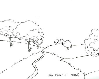 Restful Road Printable Coloring Page by Ray Horner Jr.