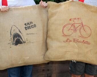 Sackleinen Bildschirm gedruckt Kissen / Outdoor-Kissen / San Diego Upcycled Leinwand 20 x 20 Kissen Verkauf!