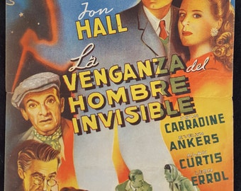 Original 1944 The Invisible Man's Revenge Movie Poster Herald Program Pressbook, Jon Hall, Invisible Man