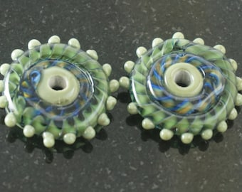 Pair olive disc earring beads