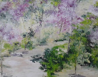 Floral Woods painting has oil knife