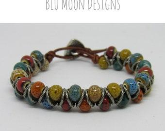 Ceramic Bead Chevron Bracelet