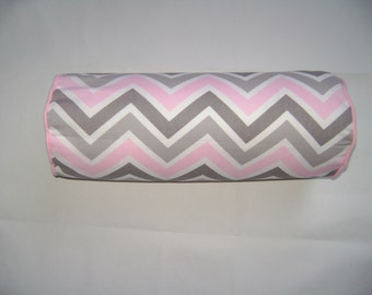 Bolster Chevron Pillow Cover, 6''x16'' Pink/White/Grey Bolster Pillow Cover, Decorative Bolster Pillow Cover