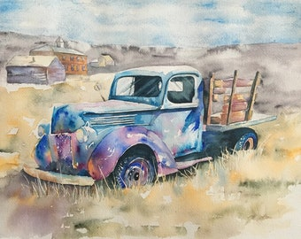 Rusty Old Truck Watercolor Print by Tracy Tekverk