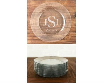 Personalized Dinner Plate - Etched w Any Design - Monogram, Initials, Date, Quote - Customized for Wedding Reception, Anniversary Party