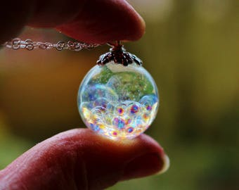 Fairy Necklace, Fairy Bubble Necklace, Fairie Globe, Magical Necklace, Rainbow Orb, Fairy Orb, Gift for Daughter, Sterling Silver Chain
