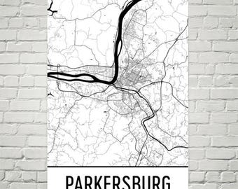 Parkersburg Map, Parkersburg Art, Parkersburg Print, Parkersburg WV Poster, Wall Art, Gift, Map of West Virginia, West Virginia Poster