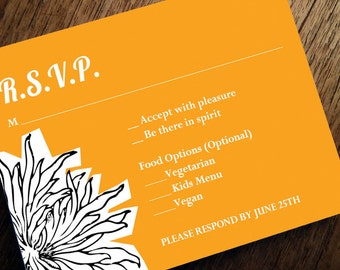 Printable RSVP Card - Response Card Download - Instant Download - RSVP Template - Response Card - Dahlia - Orange & Black PDF - Orange rsvp