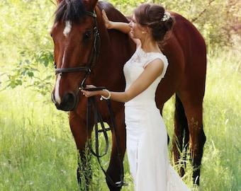 Ivory Lace Wedding Dress, Crepe Simple Wedding Dress with Train L7, Romantic wedding gown, Classic bridal dress, Custom dress