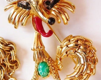 Kramer fox pin brooch  rhinestone figural pin   teacher gift   rare collectible   designer signed vintage