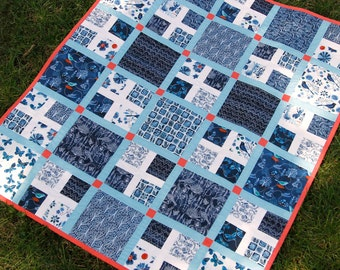 Organic cotton toddler or lap quilt made with Moody Blues designs, Sale, Cloud 9 Fabric, reversible, Made in USA