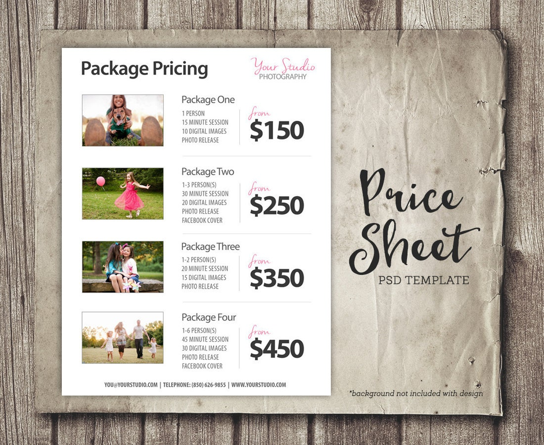 Wedding Photography Pricelist: Price List Template Photography Pricing List Sell Sheet