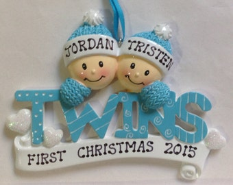 33% Off Personalized Twin Boy's First Christmas Ornament Gift Newborn, 1st Birthday , Birth Announcement , Christening Favors