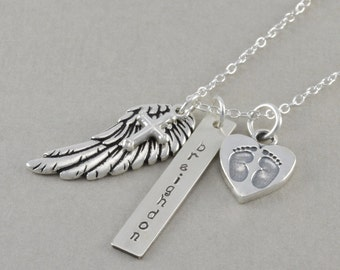 Hand Stamped Remembrance Necklace. In Memory Personalize sympathy Sterling silver, angel wing, cross, hand stamped name, rectangle BREIGHDON