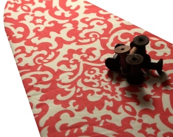 PADDED Ironing Board Cover with ELASTIC around edges made with HEAVYWEIGHT coral and cream damask fabric pick your size
