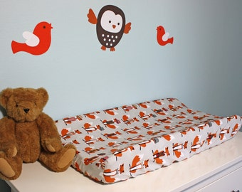 Changing Pad Cover | Gray and Orange Foxes