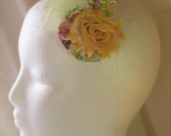 Yellow Fascinator, Shabby Chic Flower  Fascinator, Rosette Brooch, Wedding Party, Bridesmaid, Formal Wear, Hair Clip, Flower Hair Accessory