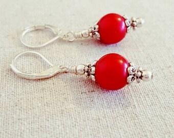 Red Earrings • Red Dangle Earrings • Red Drop Earrings • Red Pearl Earrings • Red Pearl Dangle Earrings • Red Pearl Drop Earrings • uk