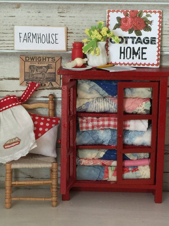 Miniature Red Cottage Home Quilt Cupboard - Dollhouse scale
