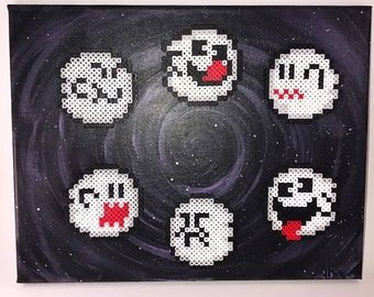Super Mario inspired boo ghost mixed media painting
