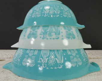 Vintage Set of 3 Pyrex Butterprint Cinderella Bowls Amish Turquoise White