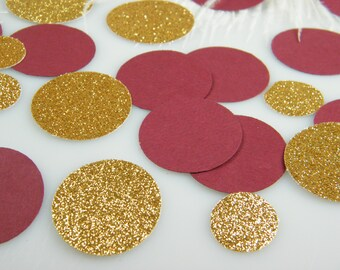 Burgundy Maroon Wine and Gold Wedding Table Confetti / Invitation Confetti / Burgundy Elegant Wedding Decoration /  100 ct