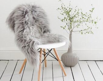 Grey/Gray Sheepskin Throw & Rug / Icelandic Longhair Rarebreed