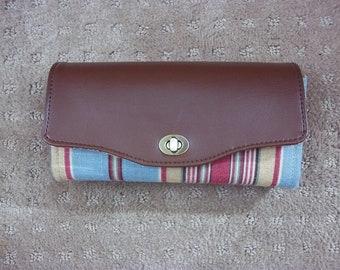 Large Linen Striped Wallet
