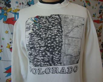Vintage Colorado Snow Ski Tourist vacation Skiing white crew neck Sweatshirt Sz L
