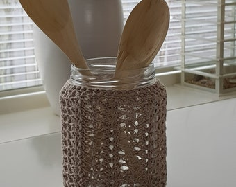Crocheted Glass jar with wooden spoons
