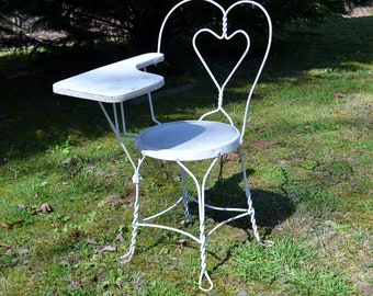 Vintage Ice Cream Parlor Desk Chair Wrought Iron Twisted Metal White Chippy Paint Heart Sweetheart PanchosPorch