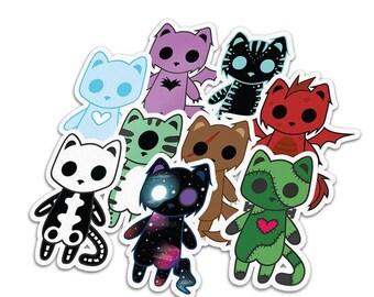 Vinyl Decal Monster Cats -  pastel goth nu goth grunge kawaii grunge monster cats goth punk halloween