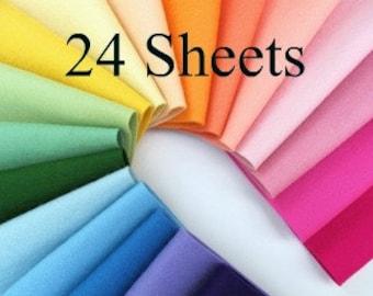 Wool Felt, CHOOSE TWENTY FOUR Sheets, Pure Merino Wool, 8x12 Inch, Felt Assortment, Applique, Sewing Supply, Felt Flowers, Felting