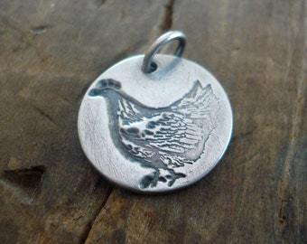 Mother Hen Pendant - Handmade. Oxidized Fine recycled silver