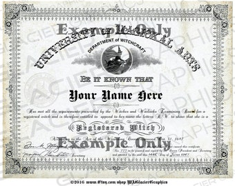 Blank Registered Witch Diploma YOU ADD TEXT Witch Diploma Digital Download Witch Certificate Vintage Witch University Diploma 059