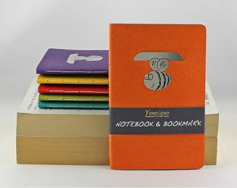 Notebook and Bookmark - Handmade Reading Journal - Stainless Steel Bee Bookmark - Booklover gift