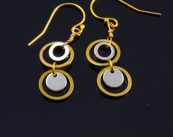 Mixed Metal Earrings with gold over silver hooks, golden loops with silver circle earrings, gold and silver color