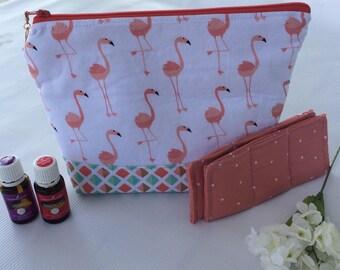 Essential oil case, holds 17+ bottles, Flamingo  Medium oil bag, Essential oil Bag, Essential oil gift,  Essential oil storage
