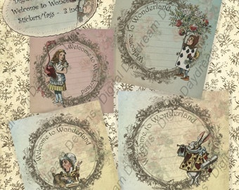Alice Printables Welcome to Wonderland 3 x 3 size