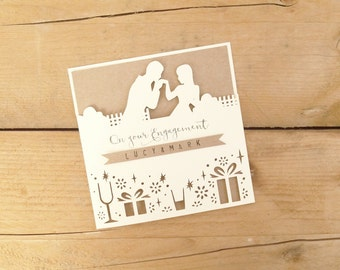 Personalised Papercut Engagement Card / Congratulations Card / Wedding Card / Engagement Congrats / Marriage Card